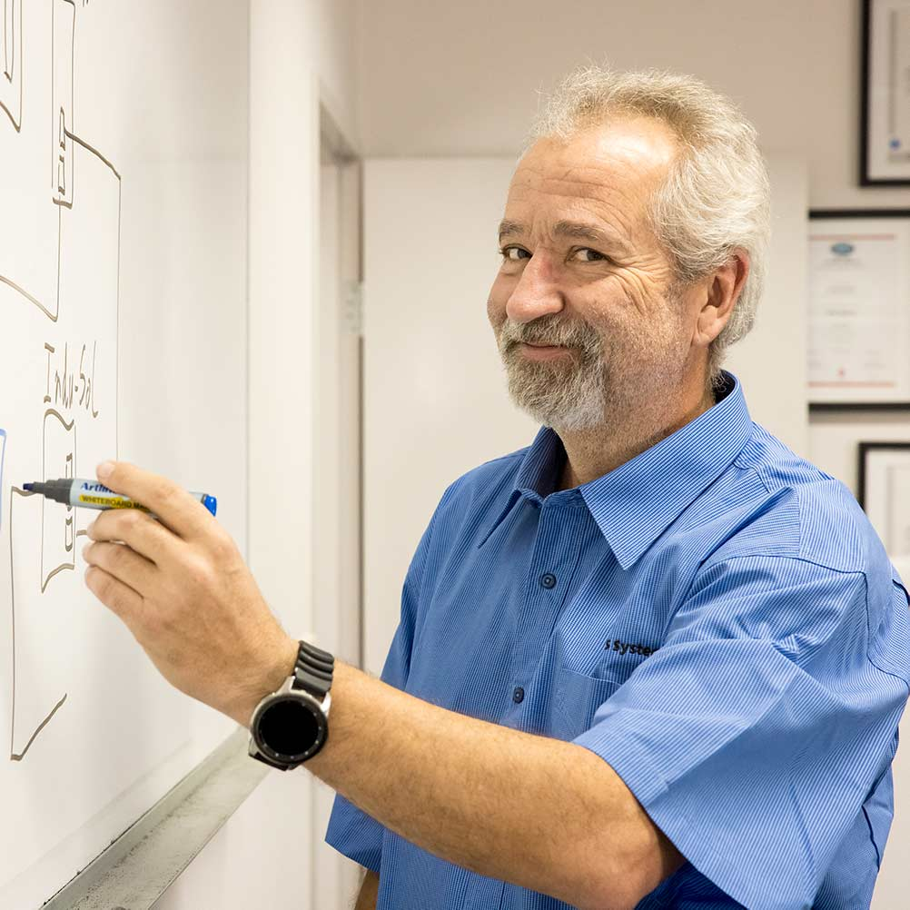 Fritz Woller working on a solution for our customers.