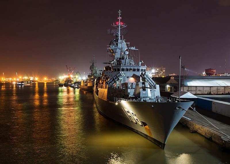 Anzac class frigate in dock